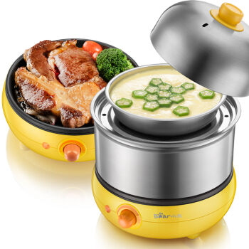 Bear Egg Boilers Double Cooker Stainless Steel Fried Eggs Multifunctional Breakfast Machine cukyi household electric multi function cooker 220v stainless steel colorful stew cook steam machine 5 in 1
