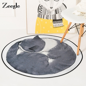 Zeegle Cat Round Carpet For Living Room Children Bedroom Rugs And Carpets Computer Chair Floor Mat Cloakroom Carpet