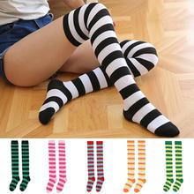 Sexy Medias Striped Long Socks Women Over Knee Thigh High Ov