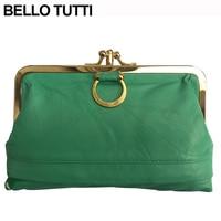 BELLO TUTTI Genuine Leather Mini Wallet Women Small Kiss Lock Money Coin Bag Female Hasp Lady