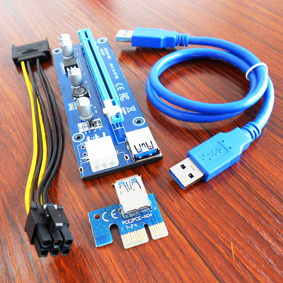 bilder für 100 Teile/los VER 007 Riser 6PIN Stromkabel pci express riser card PCI-Riser bergbau für BTC ETH Miner Maschine Kabel Sets gpu eth