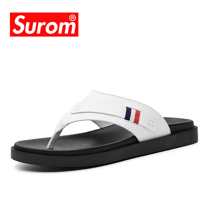 SUROM 2019 Summer Men's Flip-Flops Quality Soft Comfortable Slippers Outside Non-slip Rubber Beach Shoes Fashion Male Flats(China)
