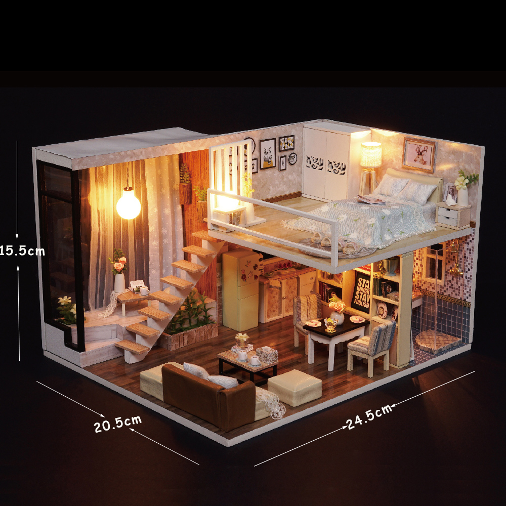 Cutebee Doll House Miniature Diy Dollhouse With Furnitures