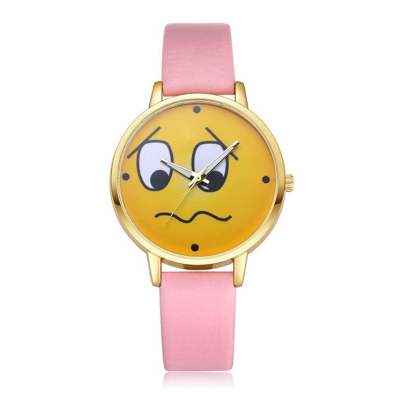 FUNIQUE 2018 Women Cartoon Watch Leather Strap Bracelet Women Wristwatch Yellow Expression Face Dial Lovely Quartz Watch