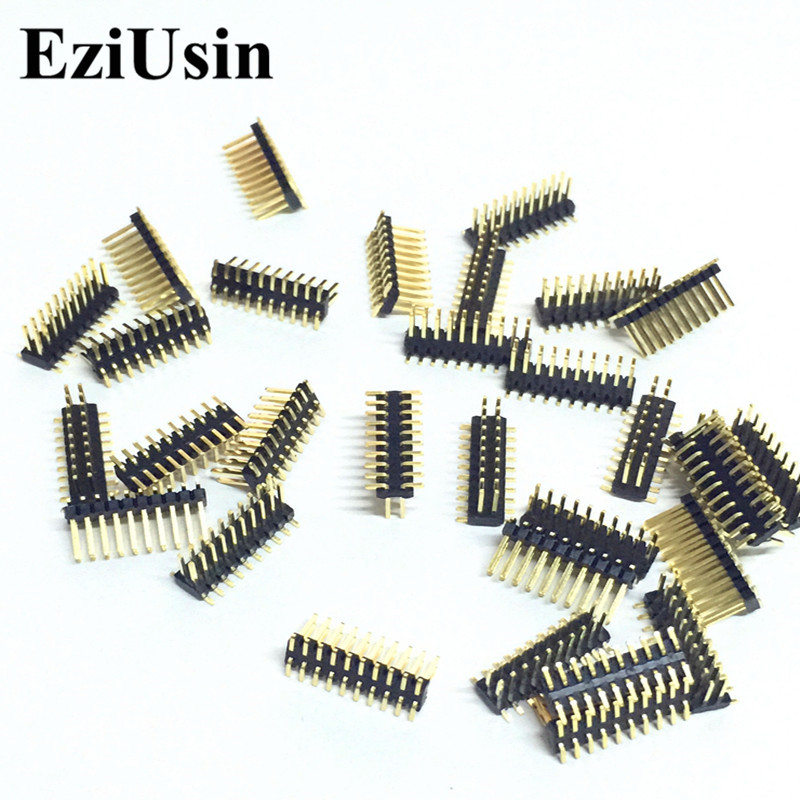 EziUsin 100pcs SMD 1.27mm Pitch Pin Gold-plated Double-pin 2x10P 1.27mm Dual Row Pin Header  SMT 2*10P Connector Pinheader 10 pcs 2x10 p 20 pin 1 27 mm male header dual row straight pcb smt male pin headers rohs lead free