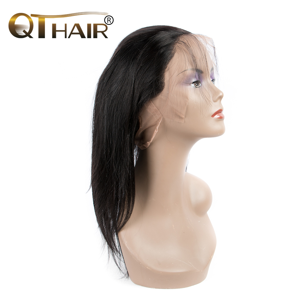 QThair Straight 360 Lace Frontal With Baby font b Hair b font 100 Brazilian Remy font