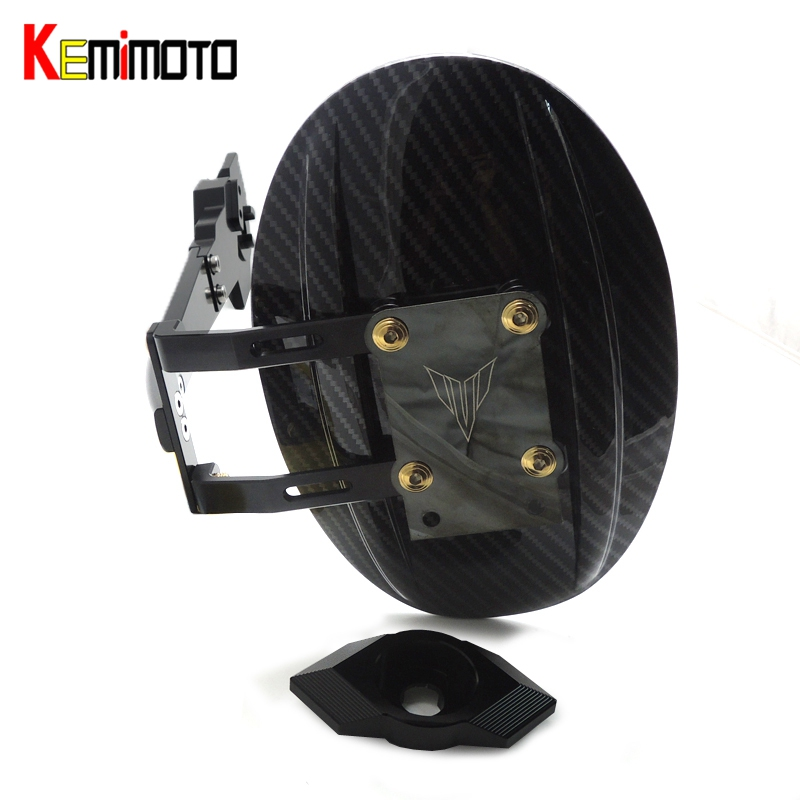 KEMiMOTO Rear Fender Cover MT07 FZ07 ABS &Aluminum Mudguard with Mounting Bracket for YAMAHA MT-07 FZ-07 MT 07 2014-2016 motoo cnc aluminum rear tire hugger fender mudguard chain guard cover for yamaha mt07 mt 07 2013 2017 fz07 2015 2017