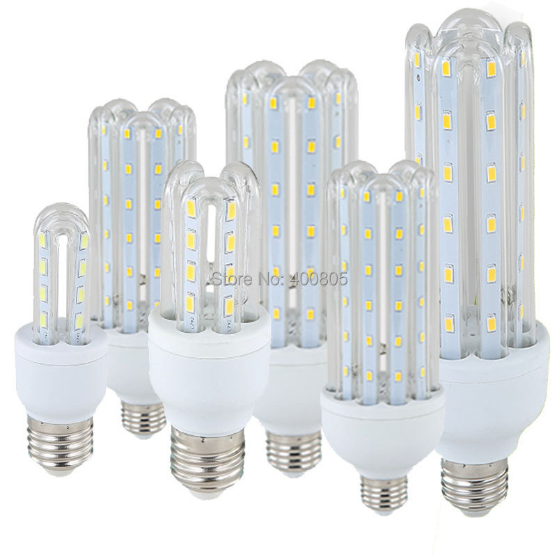 lampada E27 U Led Lamps SMD2835 220V 5W 7W 9W 12W 16W 23W 30W LED Lights Corn Bulb Glass Christmas Chandelier Candle Lighting 220v led lamp e27 led light smd5730 48leds lampada led bulb corn light chandelier lamps lighting replace incandescence lights