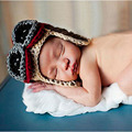 Crochet Baby Boy Earflap Winter Hats Hand Knitted Baby Pilot Hat Beanie Newborn Photo Props Newborn Baby Hat H052