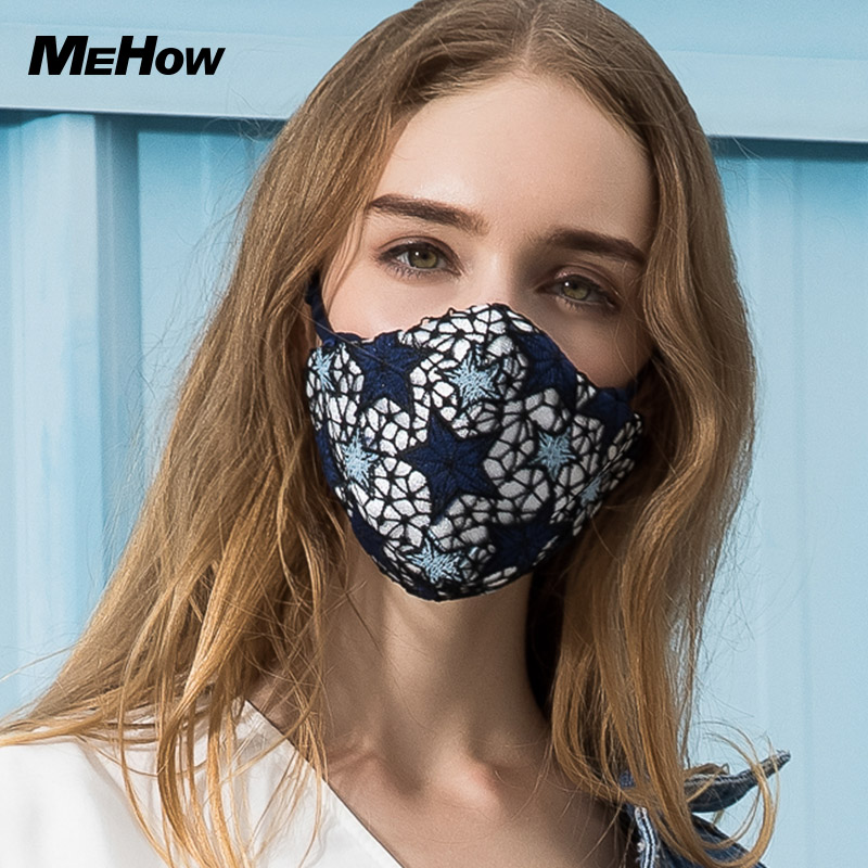 Mehow Fashion Star Pattern Embroidery Mouth Mask Anti PM2.5 Dust Haze Pollution with Nose Filter Health Care Masque Respiratoire marilyn monroe printed gas pollution anti dust and haze mouth mask