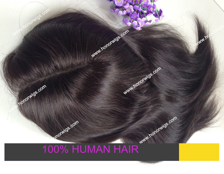 customize women toupee indian remy hair natural black color natural straight hair custom order
