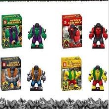 4pcs/set  New hot Aberdeen villain assembled children's educational toys fight inserted blocks