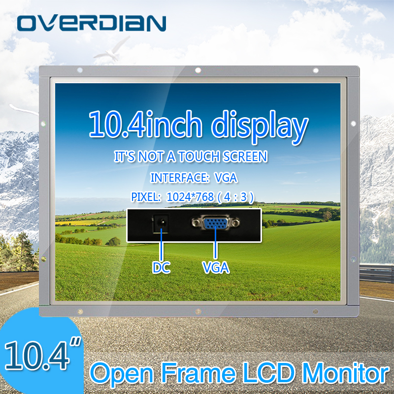 10/10.4 Industrial Control Lcd Non-Touch Screen Monitor VGA Interface Metal Shell White Open Frame 1024*768 bnc tv interface non touch screen open frame lcd industrial control monitor display with 15 6 inch metal frame page 4