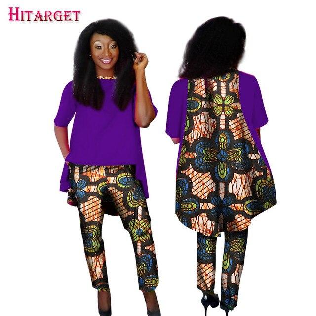 8a4df0970 2019 Mulheres Roupas Africano 2 peças Conjunto Calças Retas Conjuntos  Dashiki Imprimir Long Coat Colheita e