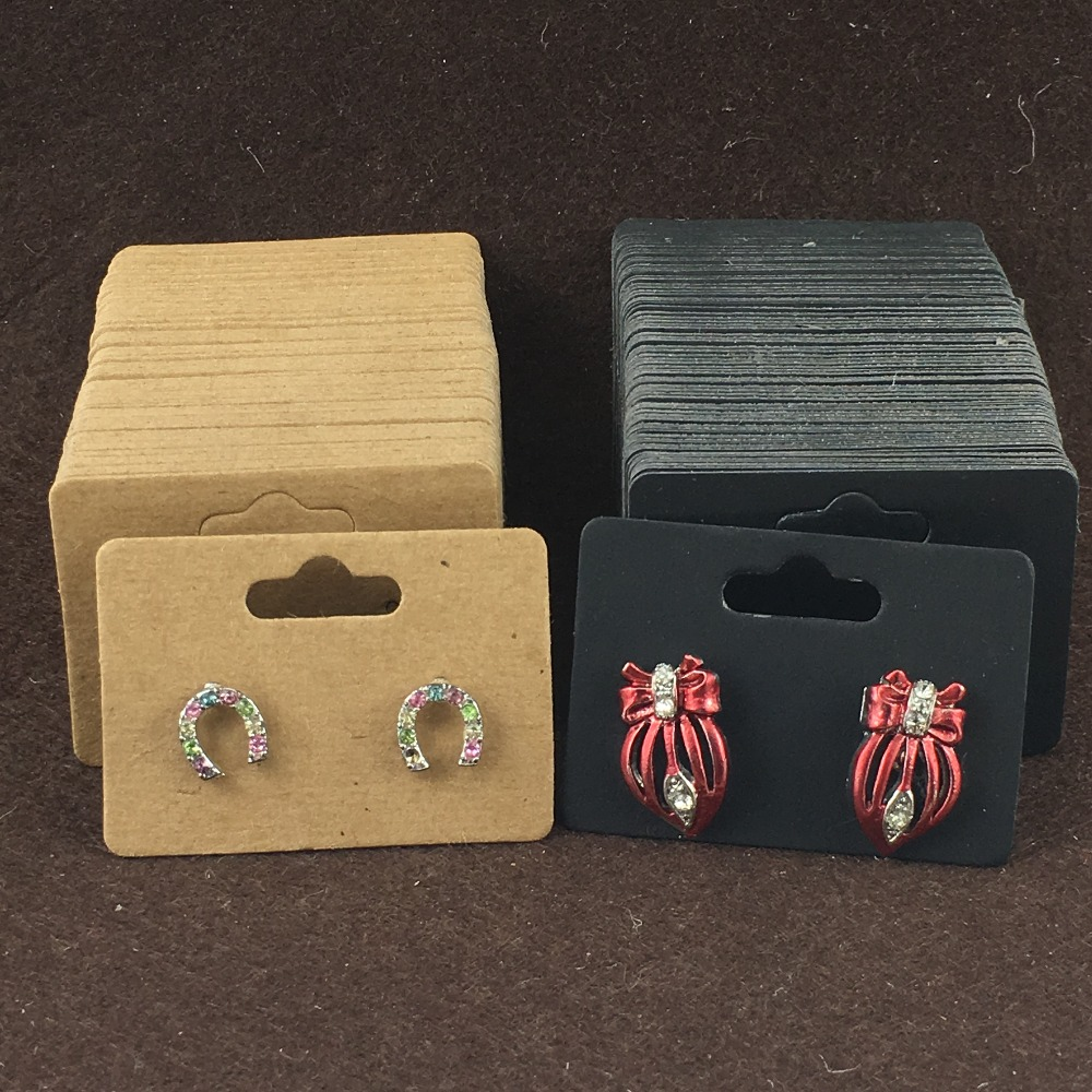 Novelty 200Pcs/Lot Natural Paper Cardboard Jewelry  Display Cards  For Pack Pendants Long Eardrops  Accept Customize Logo