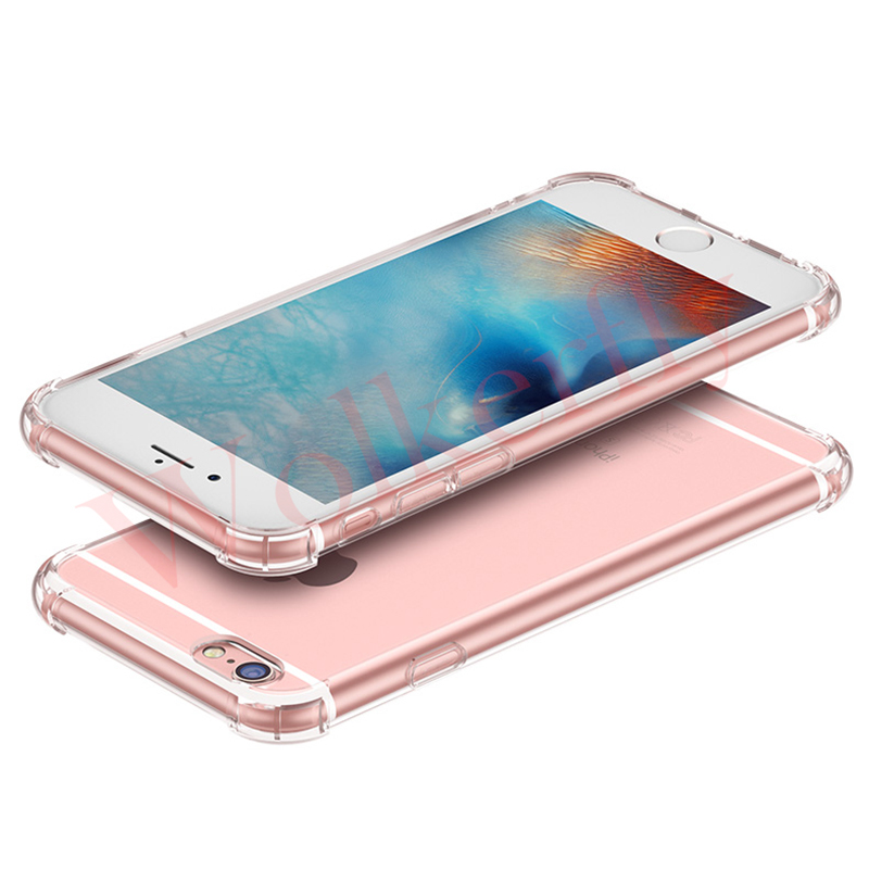For iPhone 6 Case Shockproof Cover Transparent Soft TPU Case for iPhone 8 Plus Case X 6S Anti-Knock Clear for iPhone 7 Case Back