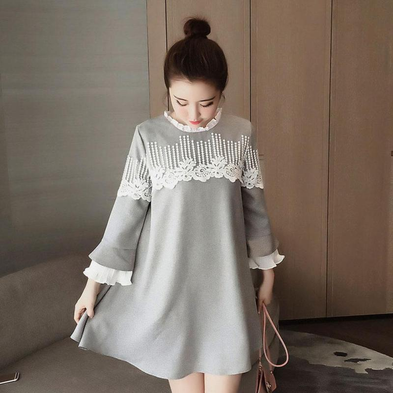 Maternity Clothes Autumn New Korean Pregnancy Dress Doll Cotton Lace Stitching Dresses for Pregnant Women Vestidos Mujer W2