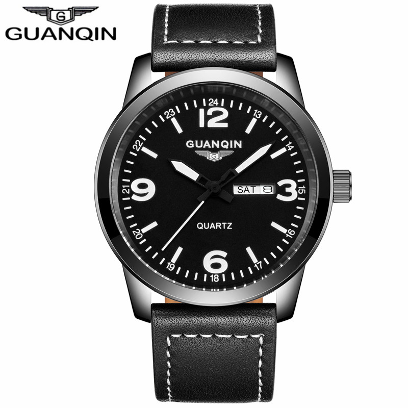 ФОТО GUANQIN GS19036 relogio masculino New Fashion Mens Watches Top Brand Luxury Men Military Sport Leather Strap Wristwatch