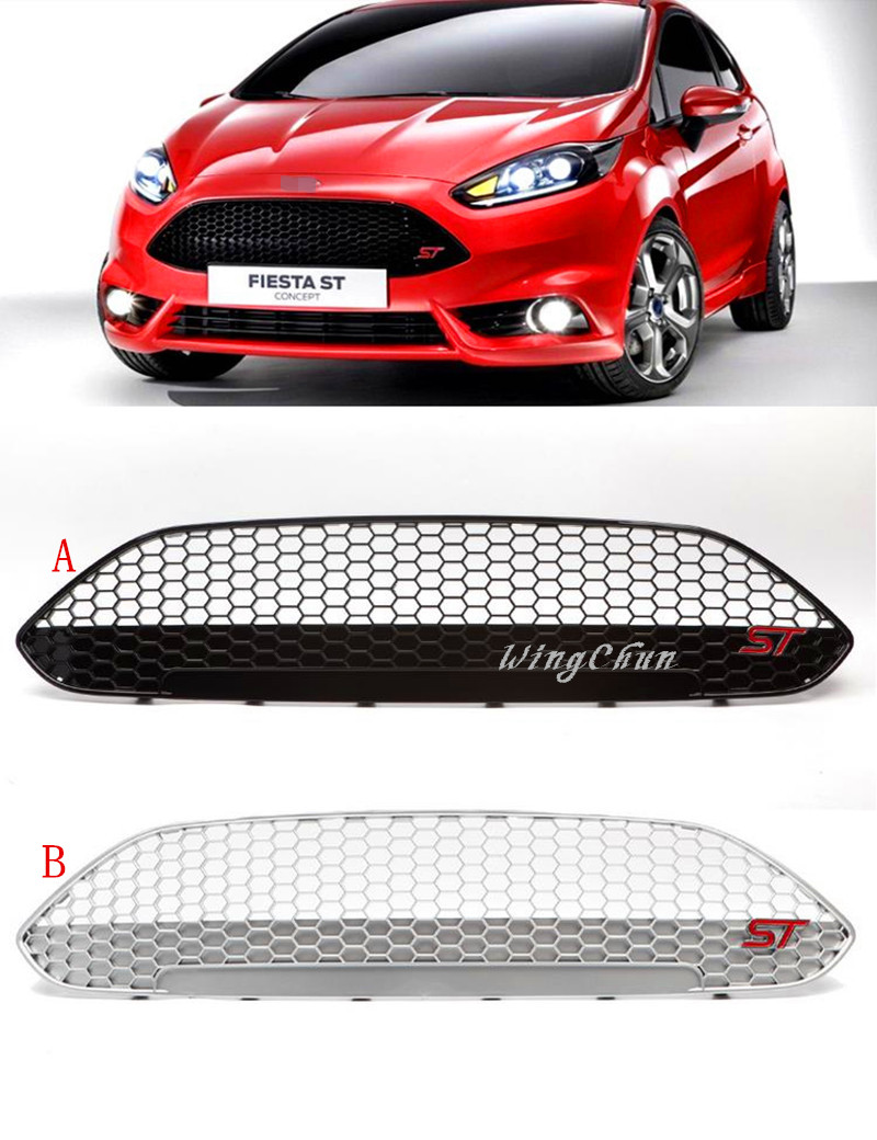 92*22cm ABS black/silver painting racing car front bumper Grill grille for Ford new Fiesta 2013 2014 2015 with ST logo front car bumper mesh grille for 2014 chery tiggo 5 car front mesh grill