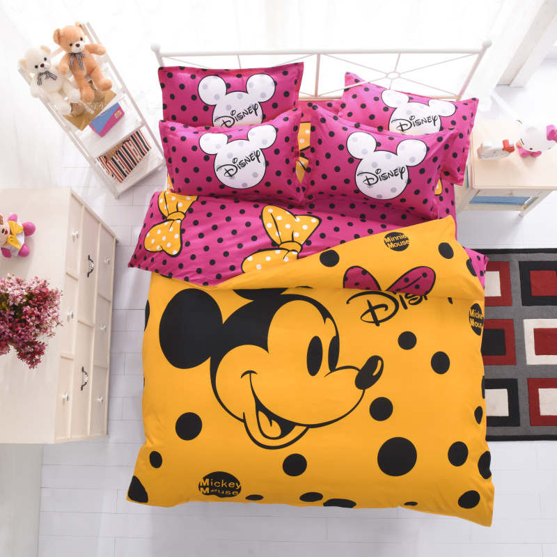 mickey mouse bedding sets queen disney cartoon duvet cover kids adult home decor 4pcs single twin full bed sheet yellow gift ...