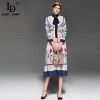 LD LINDA DELLA 2018 Fashion Designer Runway Dress Women's Long Sleeve Elegant Bowknot Tie Ruffles Casual Vintage Mid Calf Dress