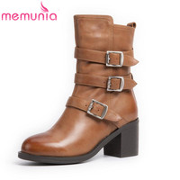 MEMUNIA Newest Mountaineering Buckles Restoring Mixed Colors Genuine Leather Women Boots Fashion Zip Autumn Mid Calf
