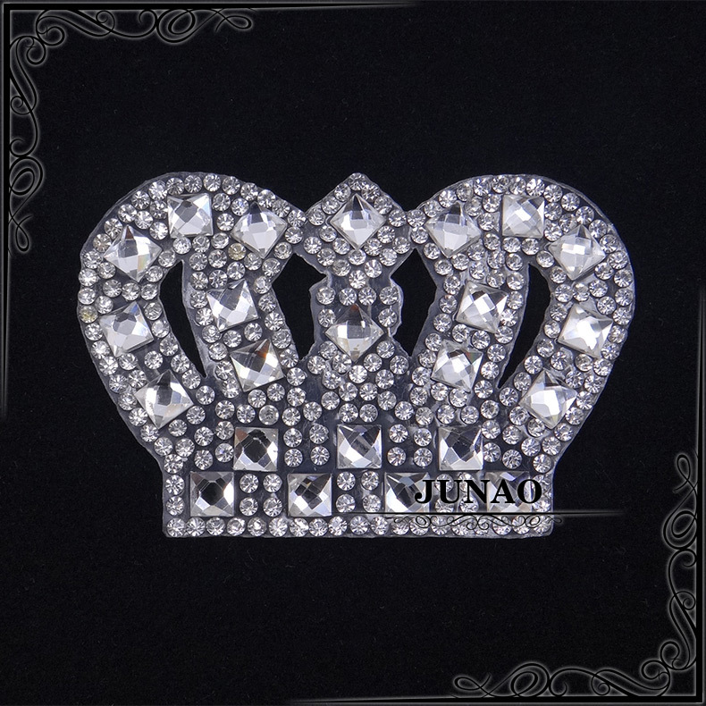 JUNAO 10pcs Crown Clear Crystal Rhinestones Patches Hotfix Motifs