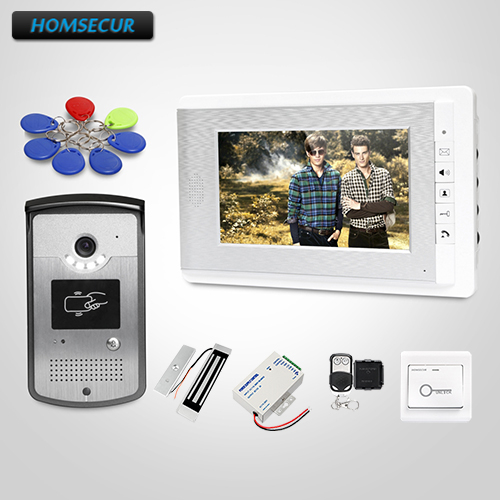 HOMSECUR RU Store Video Door Phone Intercom System With LCD Color Screen For Home Security+180kg Magnetic Lock+keys