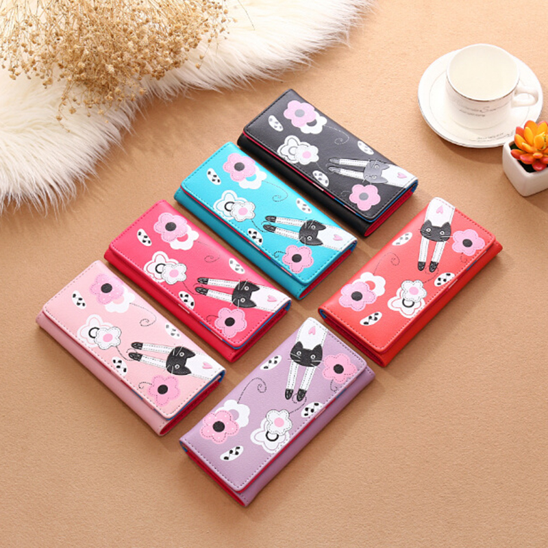 Lovely cartoon prints long Wallet Lady mini Zipper Clutch Female Travel card holder bag Coin Cash pocket womens wallet and purse 4