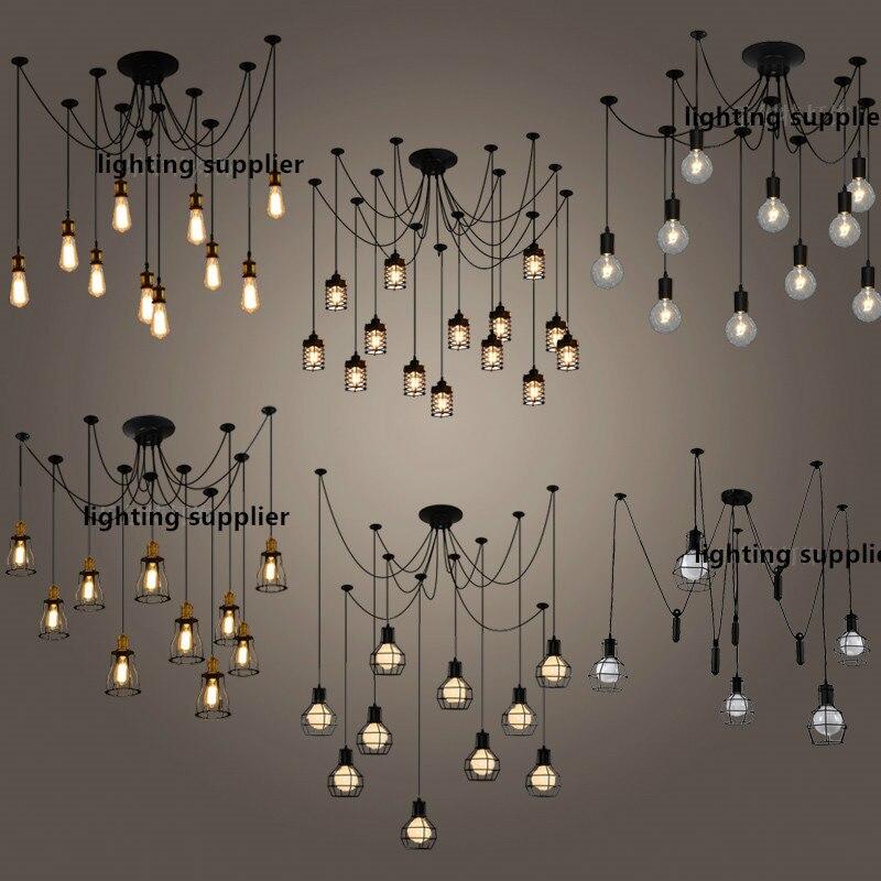 Işıklar ve Aydınlatma'ten Kolye ışıkları'de Retro Endüstriyel yaratıcı kişilik Restoran oturma odası bar yatak odası Giyim mağazası örümcek 6 14 kafaları droplight