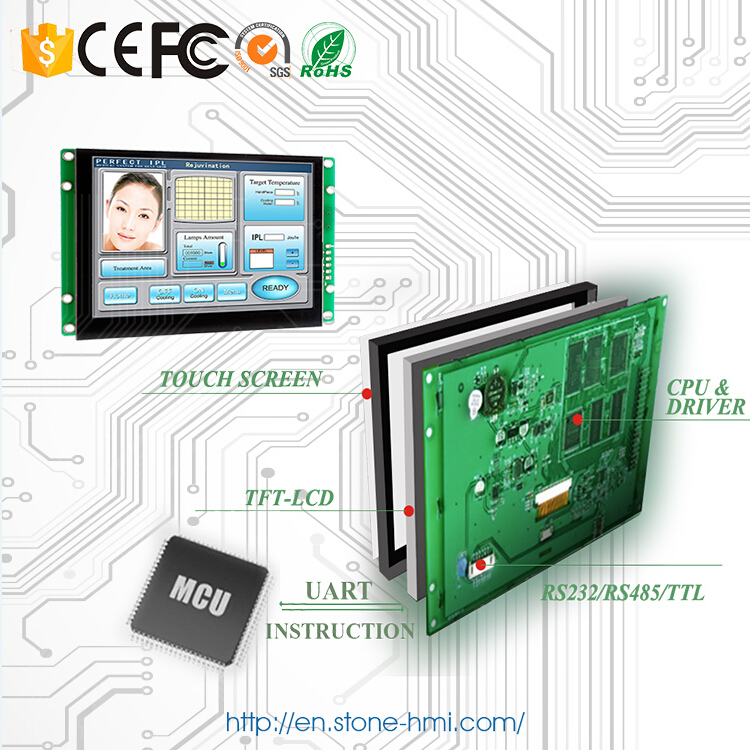 5 inch embedded HMI touch screen with RS232 RS485 TTL MCU port
