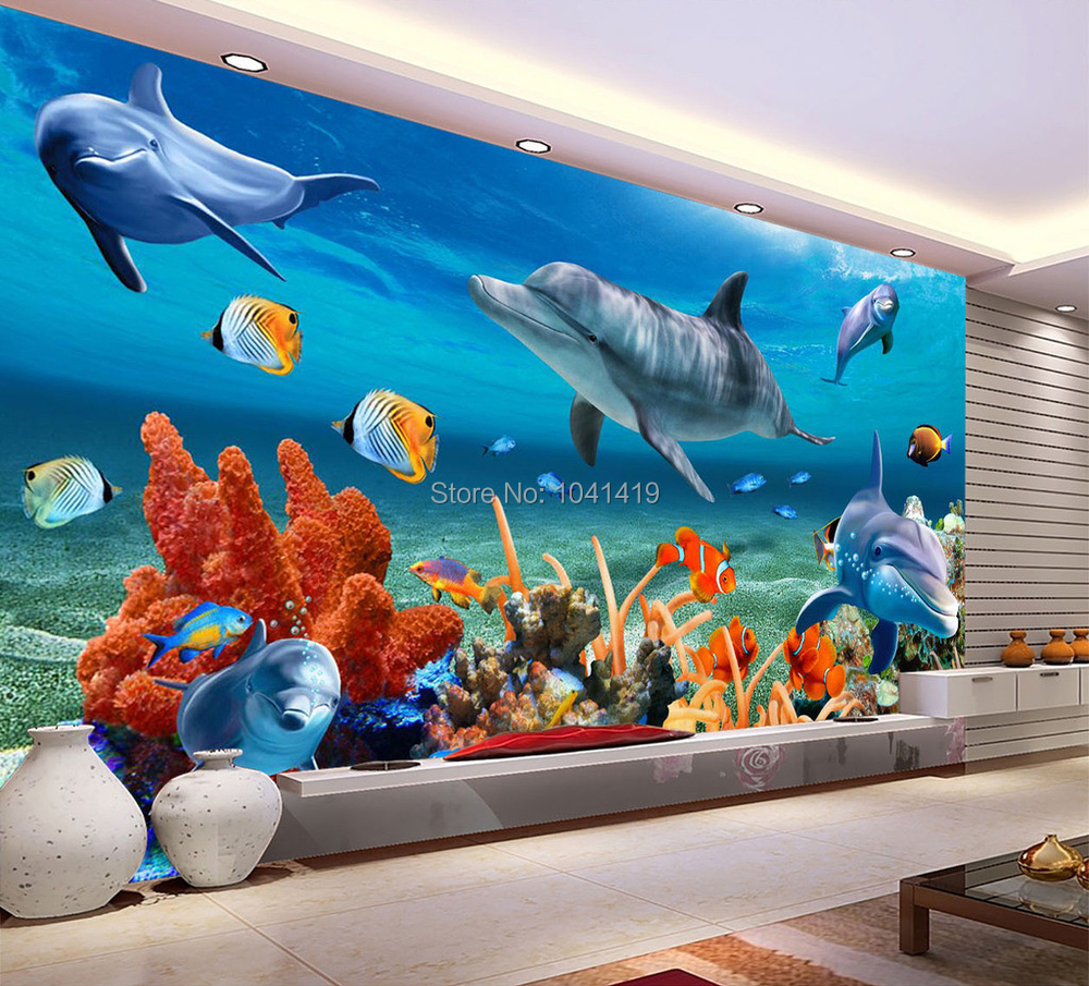 Us 816 56 Offcustom 3d Mural Wallpaper For Kids Underwater Dolphin Fish Wall Paper Aquarium Wall Background Room Decor Kids Bedding Room In