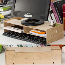 New Desk Storage Wood DIY  Increase Computer Display Keyboard  Placement Desk Organizer Prevention Of Cervical Spondylosis