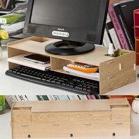 New Desk Storage Wood DIY Room Decor Increase Computer Display Keyboard Rack Shelf DVD Placement Desk