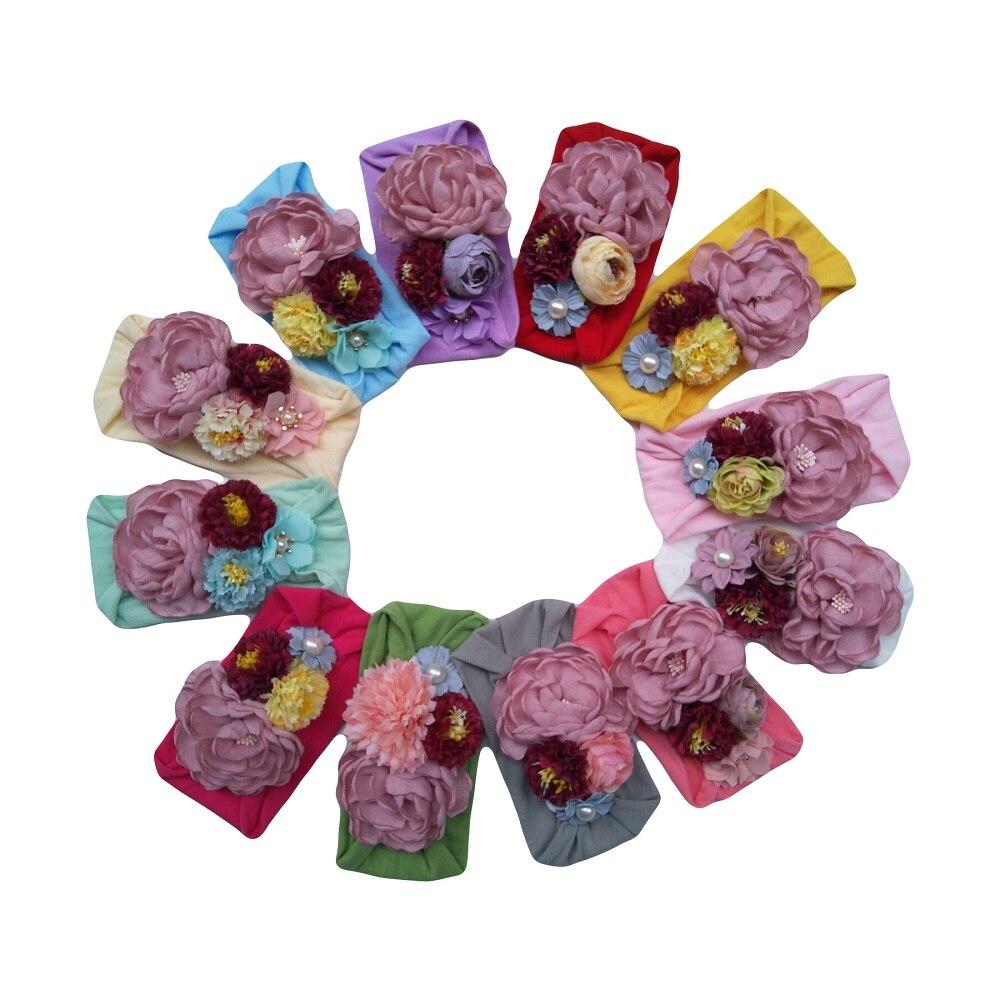 Yundfly 1PCS Newborn Toddler Baby Girls Headwraps Fabric Flowers Knot Nylon Turban Headband Hair Accessories Birthday Gifts