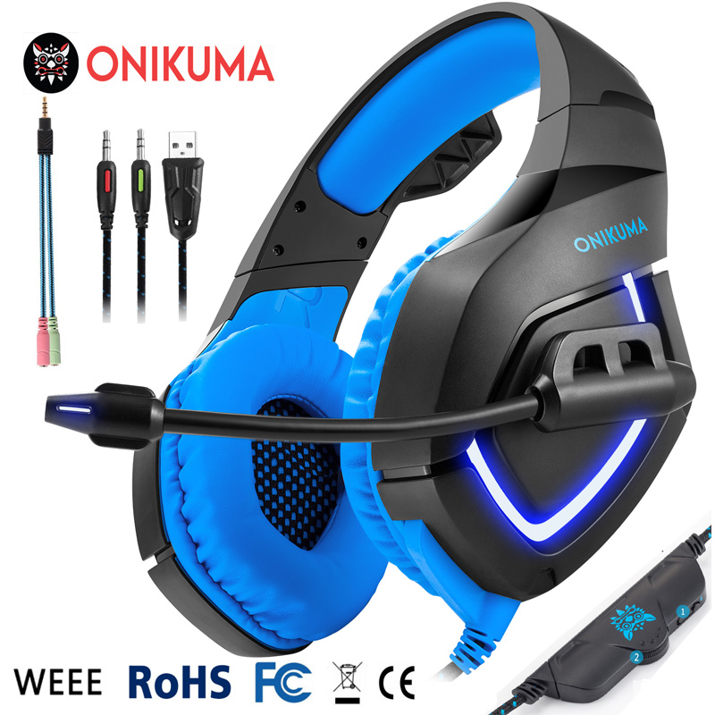 3.5mm Gaming Headset Over Ear Stereo Bass Headphone with Volume Control LED Light Microphone for PS4 Xbox One PC Mobile Phones each g8200 gaming headphone 7 1 surround usb vibration game headset headband earphone with mic led light for fone pc gamer ps4