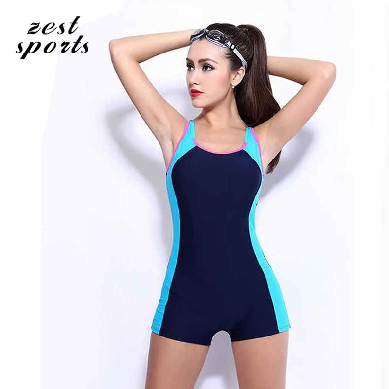 6906,Women Stitching One Piece Swimsuit, Straight angle shorts, professional sports swimwear, with chest pad,plus size