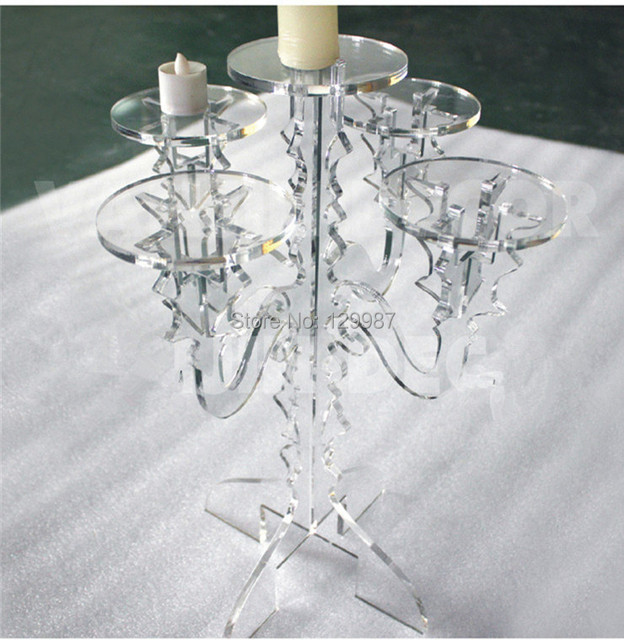 European Clear Acrylic Candle Holder Plexiglasstea Light Candelabra Chandelier With 5 Cups For Wedding