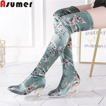 ASUMER 2019 new over the knee boots women square toe slip on Silk elastic boots printing crystal heel elegant prom women boots