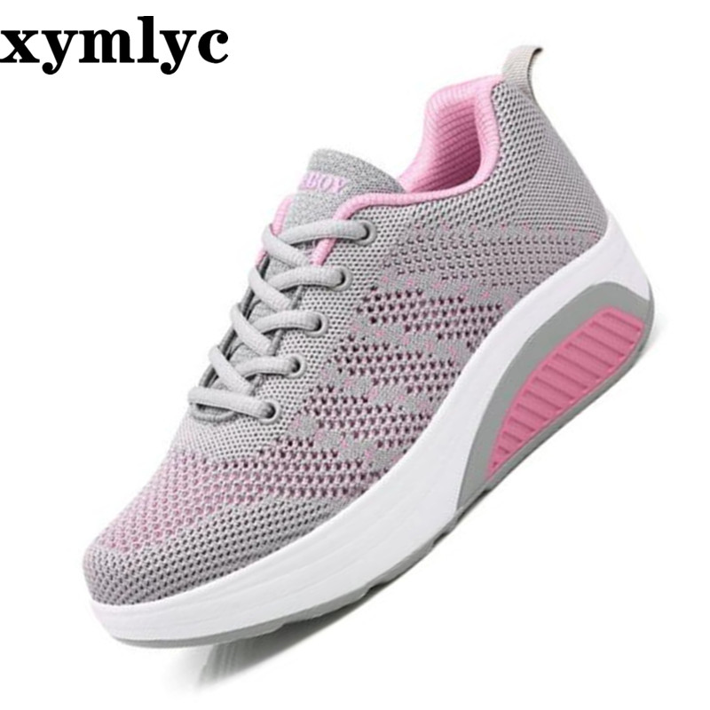 Spring autumn new thick bottom increased shallow mouth ladies single shoes casual round head sneakers nonslip laceup flat shoes(China)