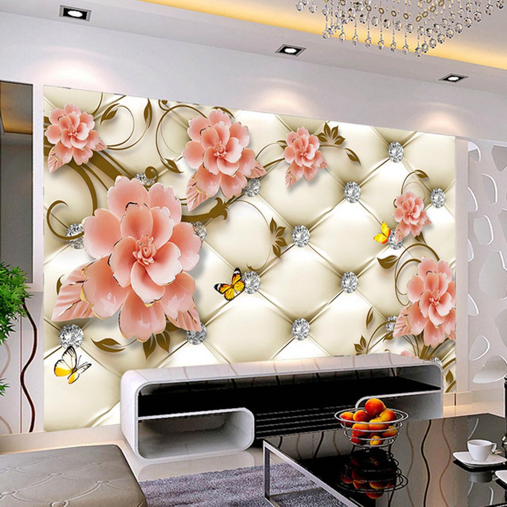 European Style Soft Bag Diamon Flower Butterfly Murals Photo Wallpaper Living Room Bedroom wallpaper for walls 3 d Landscape