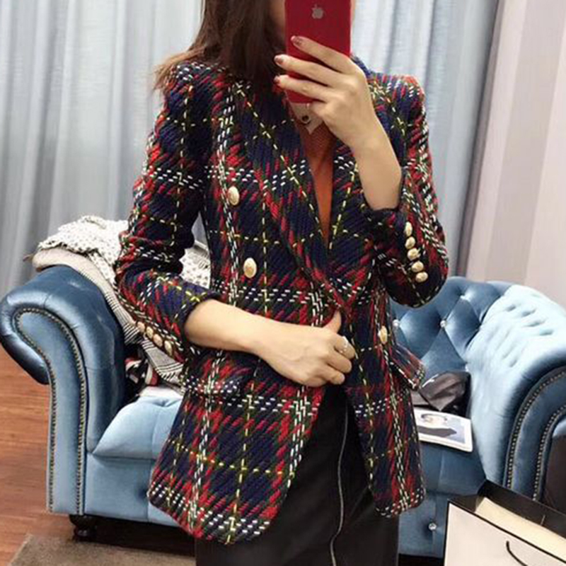 HIGH STREET New Fashion 2019 Baroque Designer Blazer Coat Women's Double Breasted Lion Buttons Plaid Wool Tweed Blazer Overcoat