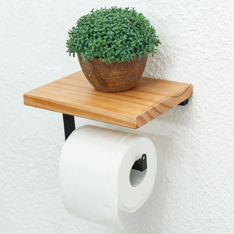 Paper Towel Holder Shelf Iron Pipe Wall Mount Paper Holder Rack Wood