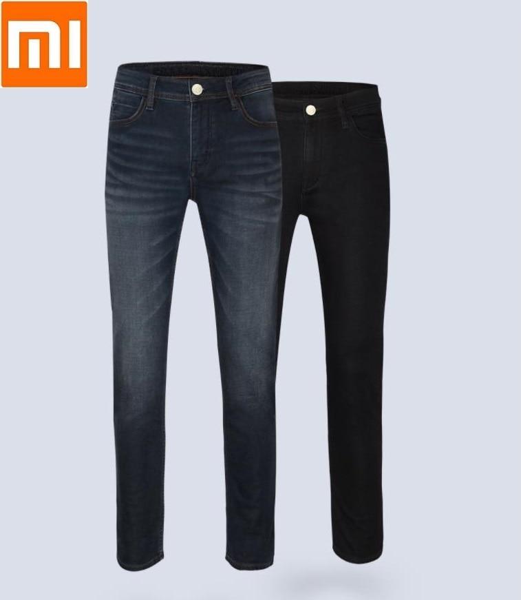Xiaomi youpin Men Autumn winter coffee carbon warm fleece cotton jeans Soft elasticity Bacteriostatic deodorization trousers