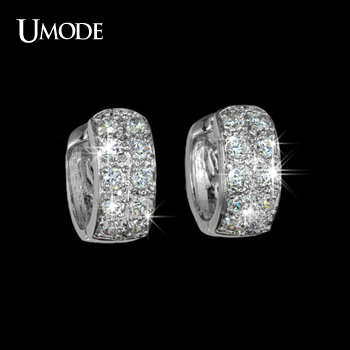 UMODE Unique Design Silver Round Loop+10pcs Top High AAA+ Tiny CZ  Pave Huggie Hoop Earrings For Women Jewelry AUE0016
