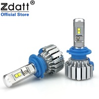 Zdatt 2Pcs Super Bright H7 Led Lamp Bulb 72W 7600Lm Car Led Headlights Canbus 6000K White