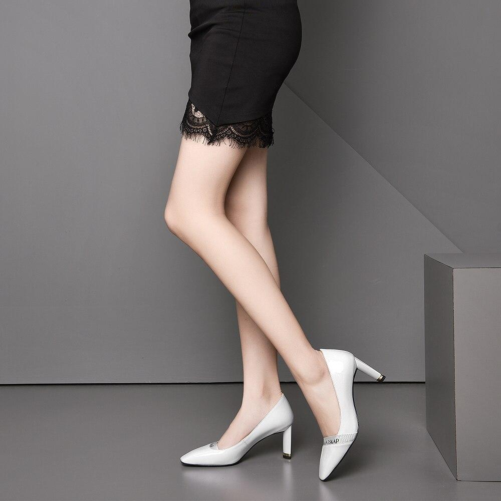 Genuino Mujer Las Oficina Leepo white Negro Tacón Punta Señoras Black Tacones Finos Alto Zapatos Cuero Madura Vestido Bombas De Blanco fRSzwSqY