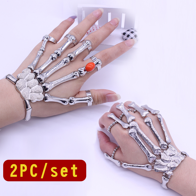 2 Pieces / Set Mode Punk Hip Hop Skull Gelang Gothic Ghost Finger Skeleton Unisex Partai Klub Malam Perhiasan Hadiah Hot