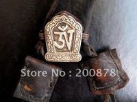 TGB142 Tibetischen metall antiqued Tempel große Gebet box, OM gau amulette box, 34*26mm, Nepal messing handwerk