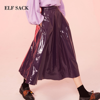 ELF SACK New Woman Skirts Pu Leather Skirts Casual Solid A line European Purple Femme Skirts Mid Calf Party Streetwear Skirts